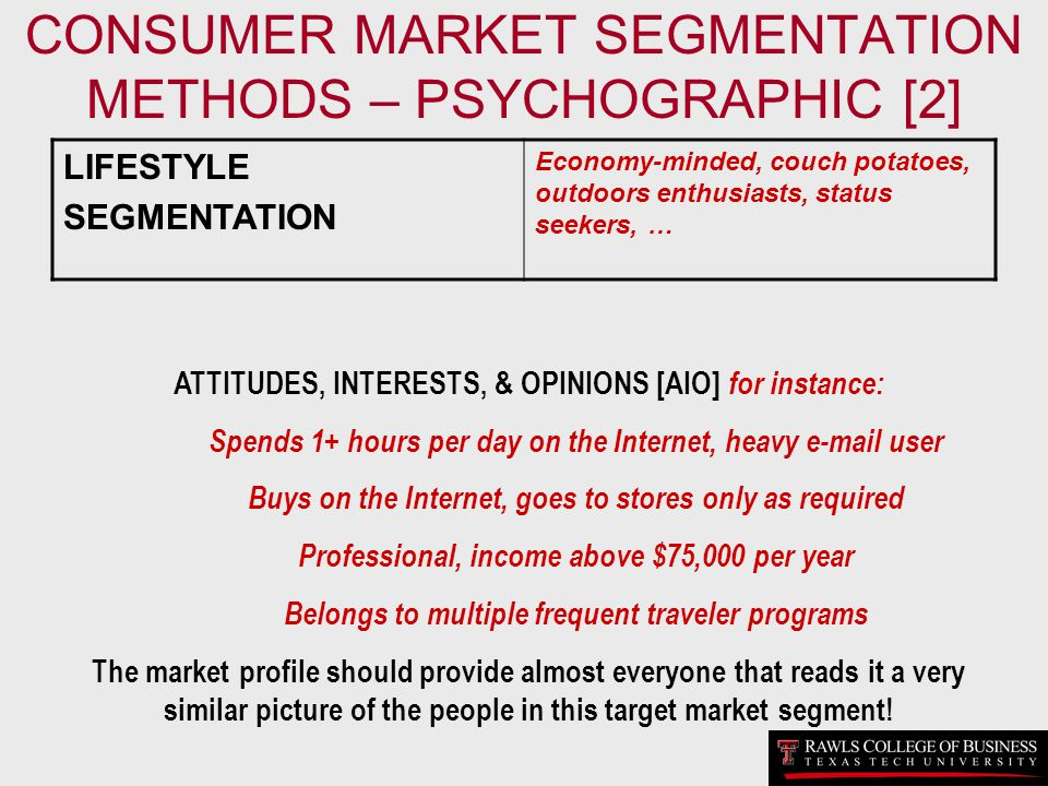 CONSUMER MARKET SEGMENTATION METHODS – PSYCHOGRAPHIC [2]